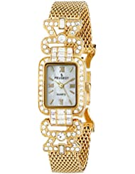 Peugeot Womens 7070G  Crystal Bezel Gold-Tone Mesh Bracelet Watch