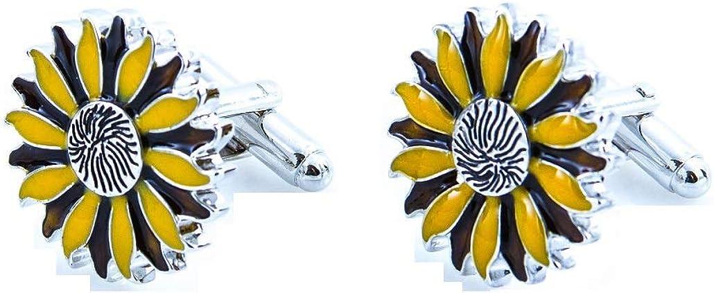 MRCUFF Sunflower Yellow Flower Pair Cufflinks in a Presentation Gift Box /& Polishing Cloth