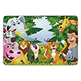Bathroom Bath Rug Kitchen Floor Mat Carpet,Nursery,Group of Safari Jungle Animals with Funny Expressions Cute African Savannah Mascots,Multicolor,Flannel Microfiber Non-slip Soft Absorbent