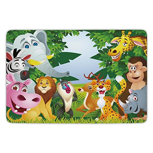 Bathroom Bath Rug Kitchen Floor Mat Carpet,Nursery,Group of Safari Jungle Animals with Funny Expressions Cute African Savannah Mascots,Multicolor,Flannel Microfiber Non-slip Soft Absorbent by iPrint