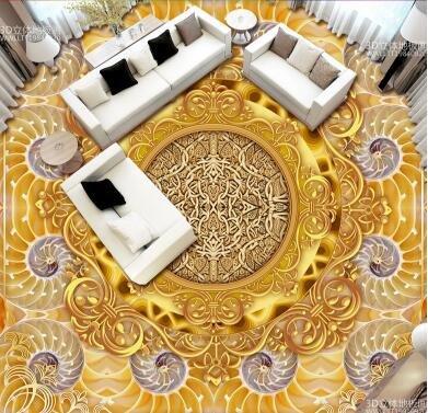 Ohcde Dheark 3D Smd 3D Stereo Wall Sticker Wallpaper Fresco Bathroom Floor Golden Luxury Jade Carving Bedroom Floor Sticker,430Cmx300Cm(169.3 By 118.1 In ) by Ohcde Dheark (Image #2)