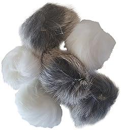 Real Rabbit Fur Pom Pom Ball Cat Toys 6-pack