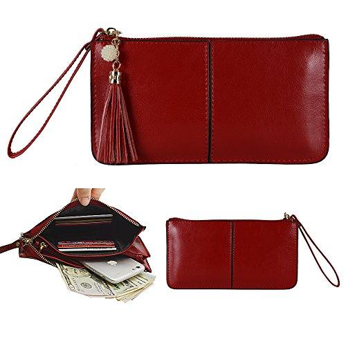 per Wallet Organizer with Credit Card Holder/Cash pocket/Wristlet- Jester Red ()