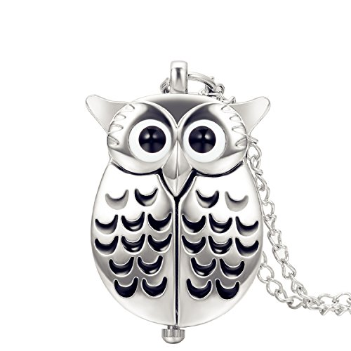 Lancardo Bright Silver Tone Owl Pocket Fob Watch With Chain Military 24H Time