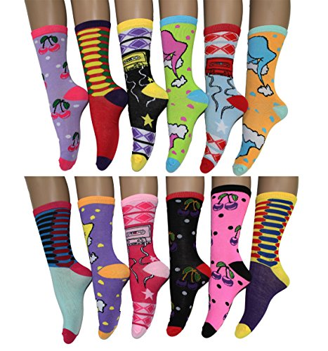 12-Pack-Women-Colorful-Patterned-Fashion-Crew-Socks-by-Frenchic
