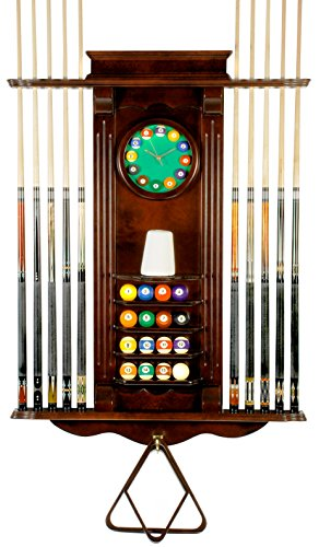 10-Pool-Cue-Stick-Billiard-Wall-Rack-W-Clock-Choose-Mahogany-or-Oak-Finish