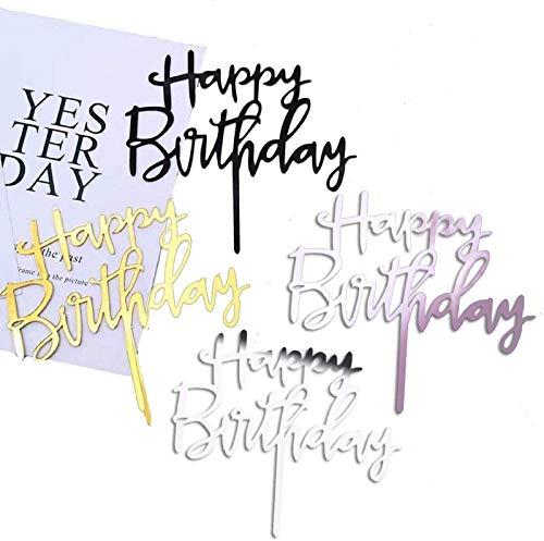 Coriver 12 Pack Happy Birthday Cake Topper, Acryl Glitter Cupcake Topper voor Verjaardag Cake Decoraties (Goud, Rose…