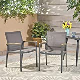 Great Deal Furniture Emma Outdoor Mesh and Aluminum Frame Dining Chair (Set of 2), Gray For Sale