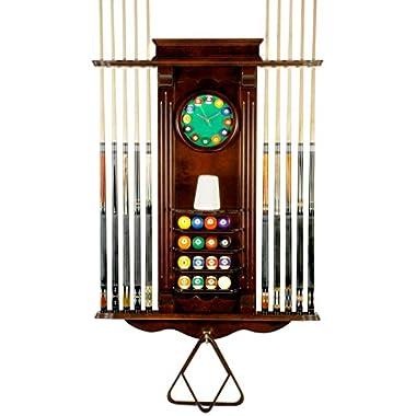 Cue Rack Only- 10 Pool - Billiard Stick & Balll Set Wall Stand w/ Clock Mahogany Finish