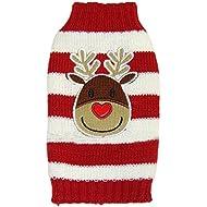 Moolecole Cute Reindeer Pet Dog Christmas Knitted Sweater Puppy Cat Winter Sweatshirt Clothes Warm Knitwear Hoodies Red & White XXL