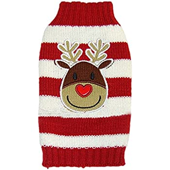 Moolecole Cute Reindeer Pet Dog Christmas Knitted Sweater Puppy Cat Winter Sweatshirt Clothes Warm Knitwear Hoodies Red & White XXL