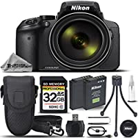 Nikon COOLPIX P900 Digital Camera 83x Optical Zoom, Built-In Wi-Fi, NFC, and GPS + 32GB Memory Card + Replacement Battery for Nikon EN-EL23 + Card Reader + Tabletop Tripod - International Version