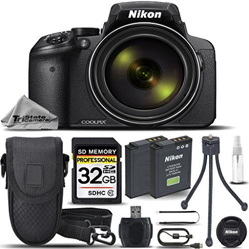 Nikon COOLPIX P900 Digital Camera 83x Optical Zoom, Built-In Wi-Fi, NFC, and GPS + 32GB Memory Card + Replacement Battery for Nikon EN-EL23 + Card Reader + Tabletop Tripod - International Version ()