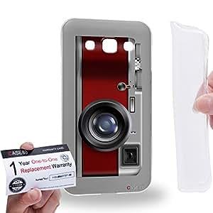 Case88 [Samsung Galaxy E5] Gel TPU Carcasa/Funda & Tarjeta de garantía - Art Drawing Rosewood Retro Old Style Camera Art1724