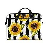 WXLIFE Floral Flower Sunflower Stripe 13 13.3 14 Inch Laptop Shoulder Messenger Bag Case Sleeve Briefcase with Handle Strap for Men Women Boys Girls