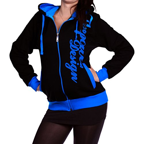 Mujer Chaqueta Con Capucha De The Power de diseño 506 negro / azul
