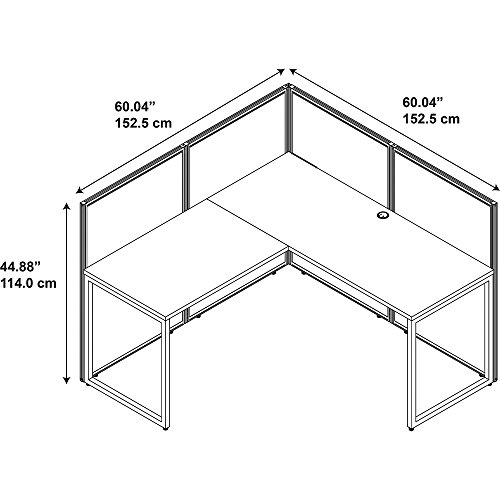 Bush Business Furniture Easy Office 60W L Shaped Desk Open Office in Mocha Cherry by Bush Business Furniture (Image #9)'