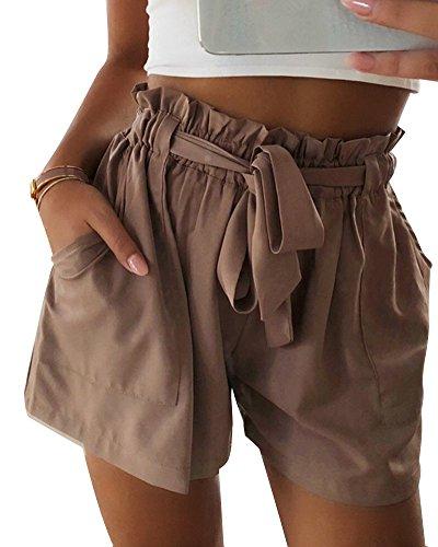 Casual Con Pantaloncini Sciolto Puro Estate ORANDESIGNE Corti Spiaggia Colore Cachi Moda Bermuda Shorts Alta Donna Vita Sportivi Pantaloni Cintura gIwq74