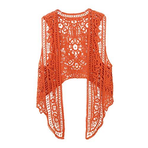 Pirate Curiosity Open Stitch Cardigan Boho Hippie Crochet Vest (Pumpkin)