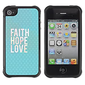 "Pulsar iFace Series Tpu silicona Carcasa Funda Case para Apple iPhone 4 / iPhone 4S , Feliz Ama a Dios texto azul"""