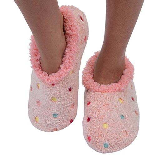 Womens Comfy Cozy Soft Bold and Beautiful Snoozies Ballerina Slippers Pink ycLpXWS