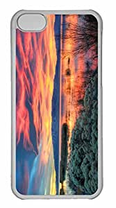 iPhone 5C Case, Personalized Custom Fiery Sunset Over Utah Lake for iPhone 5C PC Clear Case