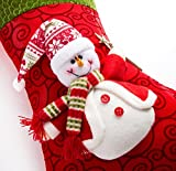 "iPEGTOP 15"" Felt Christmas Stocking, Craft Holiday Tree Hanging Red Socks Ornaments Decorations Snowman Stockings Green Trim"