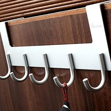 Anjuer Mehrzweck 5 Haken T/ürhaken Kleiderhaken f/ür Handt/üche H/üte Roben Silber Schl/üssel Handtaschen M/äntel Aluminiumlegierung,geb/ürstete Oberfl