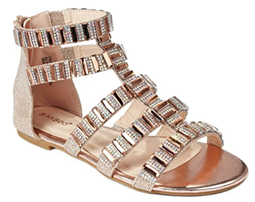 e2f4a0910 JJF Shoes Women Sparkling Crystal Rhinestone Strappy Cut Out Gladiator Flat  Dress Sandals - Buy Online in Oman.   Shoes Products in Oman - See Prices,  ...