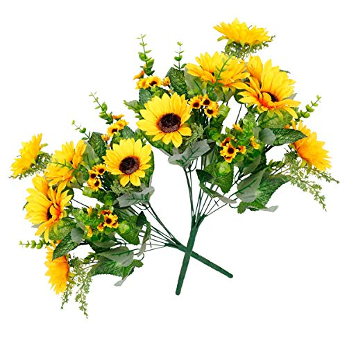 Tifuly Artificial Flowers Fake Sunflowers Bouquet 2 Bunches/Pack Silk Flowers Bridal Wedding Bouquet Yellow Flower Arrangements Home Hotel Office Indoor Garden Decorations Party Decor