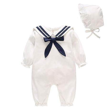 Bebé Mono Recién Nacido Mameluco Pelele Algodón Body Manga Larga Pijama con Sombrero