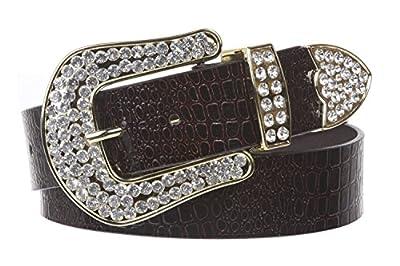 Ladies Snap On Western Alligator Rhinestone Leather Belt