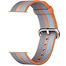 Smart Watch Band, Uitee Newest Woven Nylon Band for Apple Watch Series 42mm 1 & 2 , Comfortably Light With Fabric-Like Feel Wrist Strap Replacement with Classic Buckle (New Orange Woven Nylon)