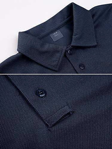 TACVASEN Poids léger Séchage Rapide Manche Longue Chemise Polo Respirant Top T Shirt Homme 2