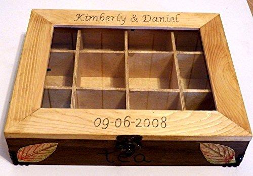 Tea-Aufbewahrungsbehälter, Küchen Box, Holz Tee Box, Teebeutel-Box, Handbemalte Box Dekorative Box mit Trennwänden, Küchenplanung übernehmen Küchen Box