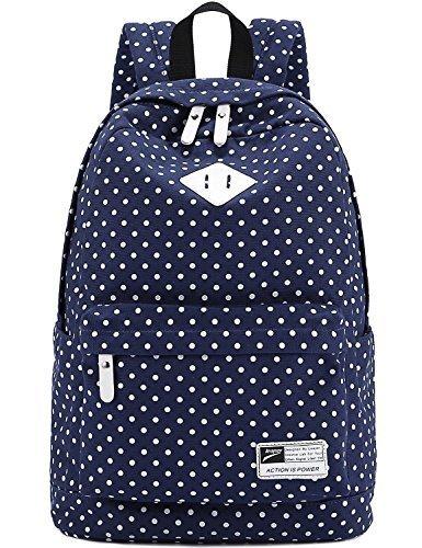 PHILNA12Travel canvas DOT stampa scuola borsa a tracolla (blu scuro)