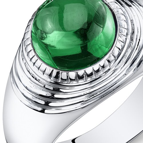 Mens 5.50 Carats Simulated Emerald Ring Sterling Silver Rhodium Nickel Finish Size 11 by Peora (Image #1)
