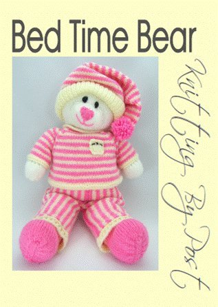 Bed Time Bear Soft Toy Knitting Pattern Cute Cosy Pink Polar Bear