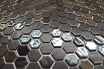 Smooth and Textured Mix 10 Sq Ft Box 1 Inch Aquamarine Hexagon Glass Mosaic Tiles