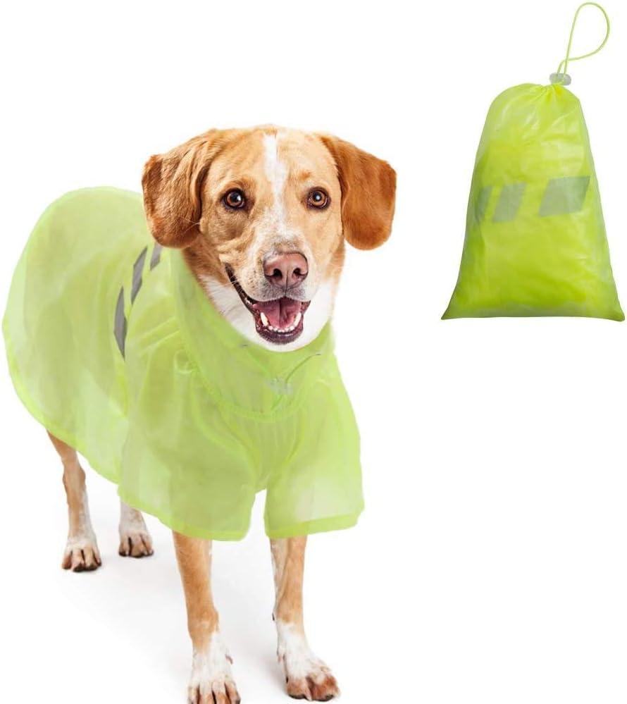 BINGPET Dog Raincoat for Small to Large Dogs - Waterproof Pet Rain Jacket with Hood ¨C Reflective/Lightweight Rain Poncho Yellow