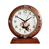 HAOFAY Vintage Retro Mantel/European Wood Mute Quartz Clock Desk and Shelf Clock