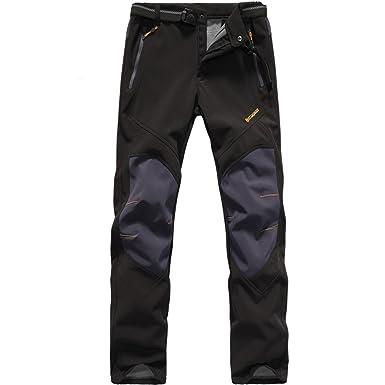2a6c0be69a88 Amazon.com  BOSOZOKU Men s Waterproof Soft Shell Fleece Lined Pants ...