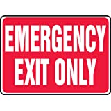 """Accuform Signs MEXT586VS Adhesive Vinyl Safety Sign, Legend """"EMERGENCY EXIT ONLY"""", 7"""" Length x 10"""" Width x 0.004"""" Thickness, White on Red"""