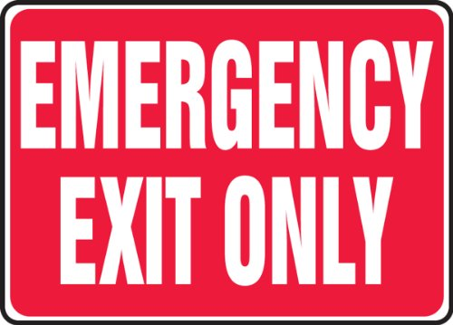 "Accuform Signs MEXT586VP Plastic Safety Sign, Legend EMERGENCY EXIT ONLY, 7"" Length x 10"" Width x 0.055"" Thickness, White on Red"