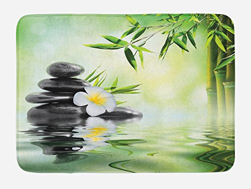 """Ambesonne Spa Bath Mat, Garden with Frangipani Bamboo Japanese Relaxation Resting Travel, Plush Bathroom Decor Mat with Non Slip Backing, 29.5"""" X 17.5"""", Green Charcoal from Ambesonne"""