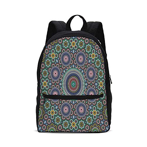 Moroccan Decor Fashion Canvas printed Backpack,Classic Mosaic Design Striped Centered Detailed Craft Work Tile Antiquity Illustration for ()