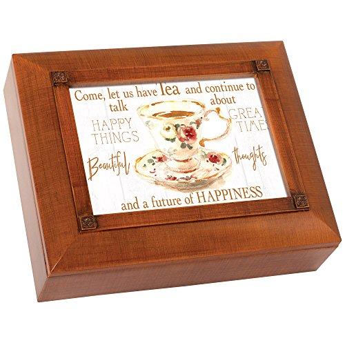 Have Tea Talk About Happiness 10 x 8 Inch Woodgrain Tea Storage Jewelry Box