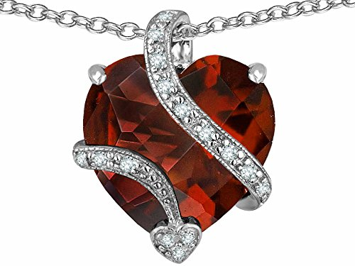 Star K Large 15mm Heart Shape Simulated Garnet Love Pendant Necklace Sterling Silver