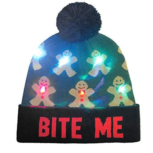 (iTLOTL LED Light-up Knitted Ugly Sweater Holiday Xmas Christmas Beanie)