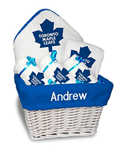Designs by Chad and Jake Baby Personalized Toronto Maple Leafs Medium Gift Basket One Size White